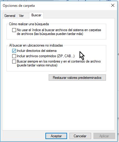 Opciones bajo el grupo Al buscar en ubicaciones no indizadas en cómo configurar las opciones de carpeta en Windows 10