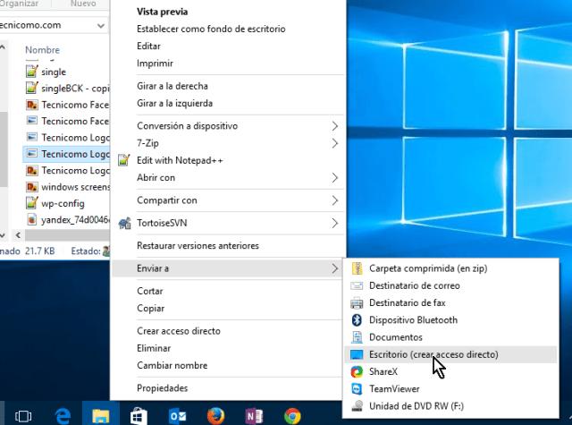 Opción Escritorio (crear acceso directo) del submenú en cómo crear un acceso directo en Windows 10