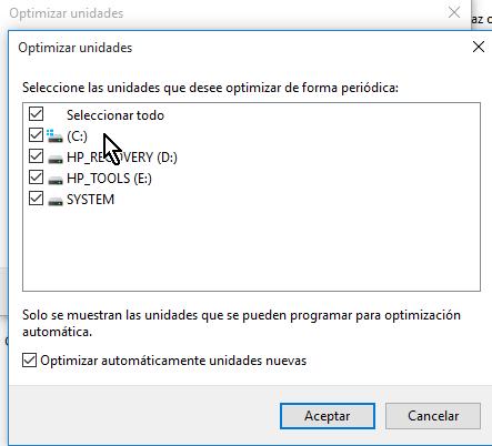 Lista de unidades para desfragmentar en cómo desfragmentar un disco en Windows 10