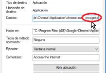 Añadiendo el argumento -incognito al acceso directo original de Google Chrome en cómo lanzar Google Chrome en modo incógnito con un acceso directo