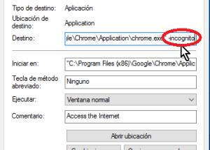 Cómo lanzar Google Chrome en modo incógnito con un acceso directo