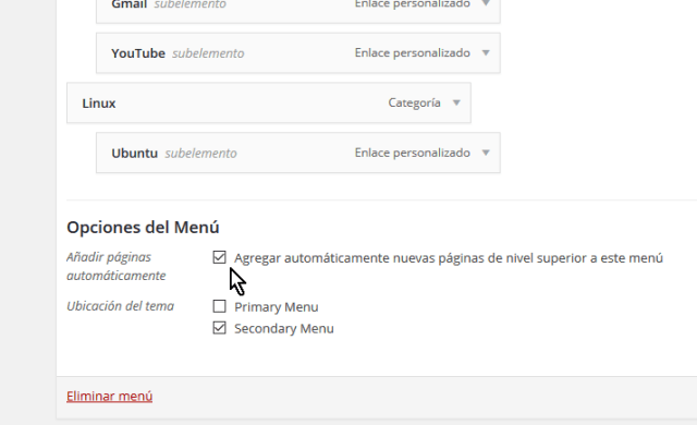 Casilla para añadir páginas al menú automáticamente en cómo personalizar un menú en WordPress