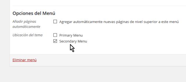 Casillas para indicar la ubicación del menú en el tema en cómo personalizar un menú en WordPress