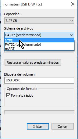 """Seleccionando Sistema de archivos NTFS en cómo resolver el problema """"El archivo es demasiado grande"""""""