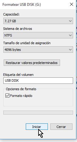 """Botón Iniciar para comenzar el formateo a NTFS en cómo resolver el problema """"El archivo es demasiado grande"""""""