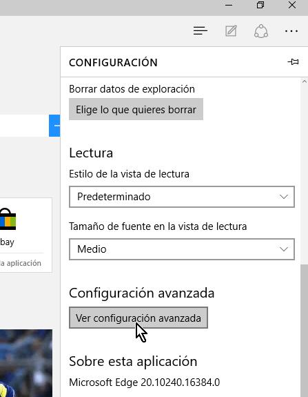 Botón Ver configuración avanzada en cómo mostrar el botón Inicio en Microsoft Edge