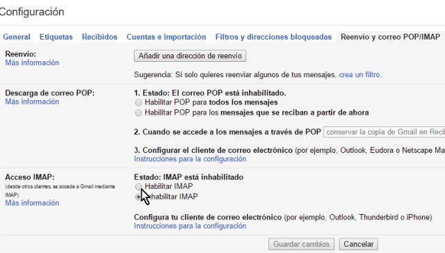 Opción Habilitar IMAP en cómo configurar el acceso IMAP en Gmail