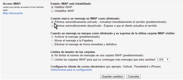 Opciones bajo Cuando marco un mensaje en IMAP como eliminado en cómo configurar el acceso IMAP en Gmail