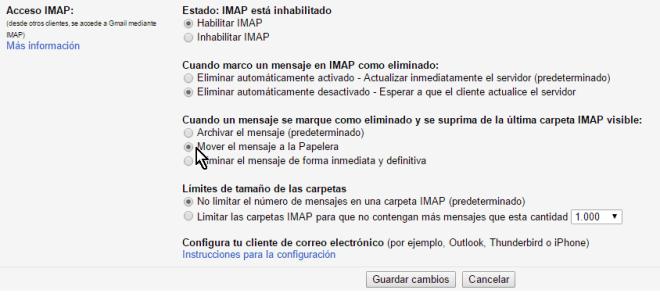 Opciones para cuando los el mensaje no se elimina automáticamente en cómo configurar el acceso IMAP en Gmail