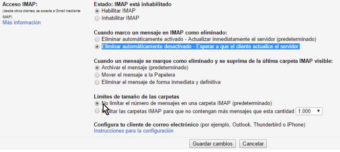 Opciones bajo Límites de tamaño de las carpetas en cómo configurar el acceso IMAP en Gmail