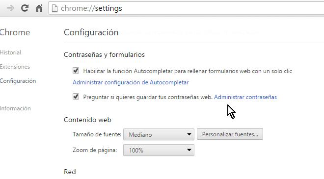 Opción para administrar contraseñas en cómo mostrar las contraseñas guardadas en Google Chrome