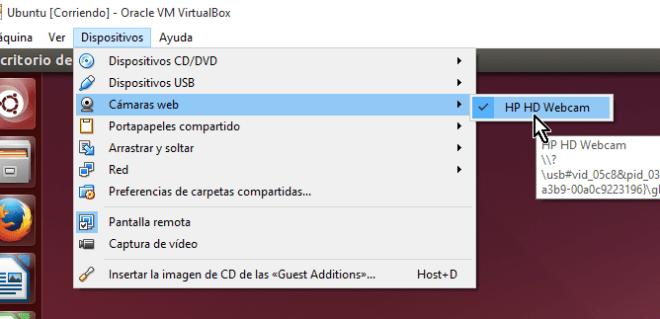 Lista de cámaras web disponibles desde el menú principal en cómo utilizar la cámara web en VirtualBox