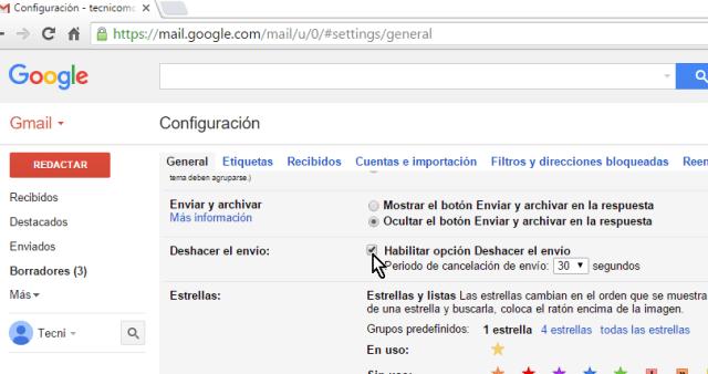Casilla Habilitar la opción Deshacer el envío en cómo cancelar el envío de un correo electrónico en Gmail