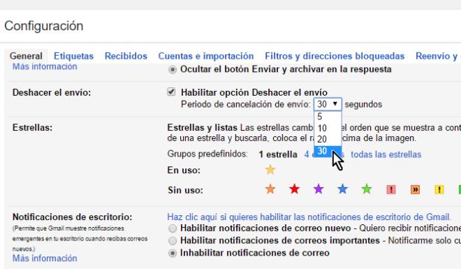 Menú con el Período de cancelación del envío en cómo cancelar el envío de un correo electrónico en Gmail