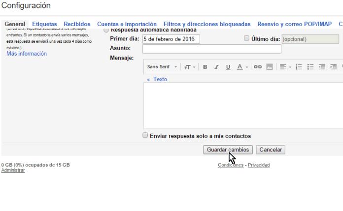 Botón Guardar cambios en cómo cancelar el envío de un correo electrónico en Gmail
