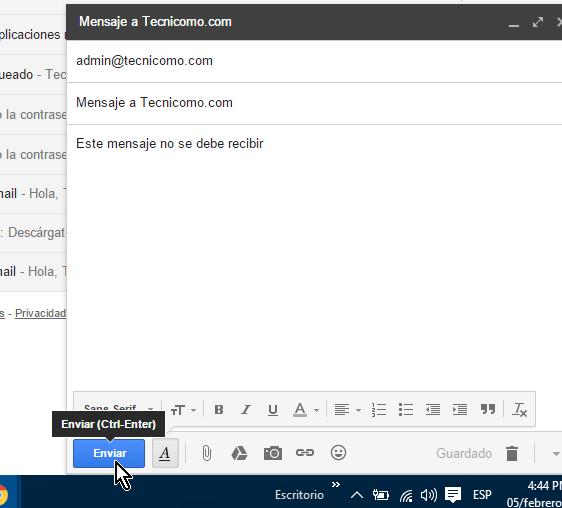 Ejemplo de un correo electrónico a enviar en cómo cancelar el envío de un correo electrónico en Gmail