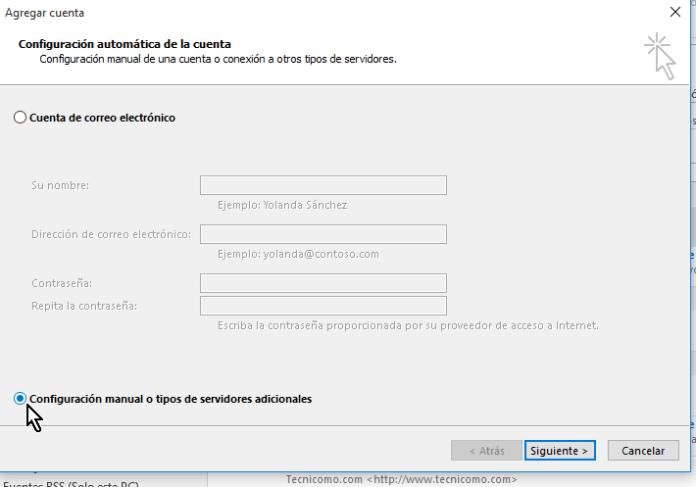 Opción para configuración manual en cómo configurar tu cuenta de Gmail en Outlook 2013 usando IMAP