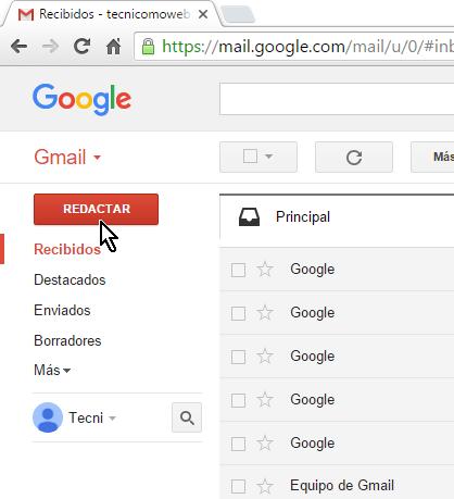 Botón Redactar en cómo crear y enviar un correo electrónico en Gmail