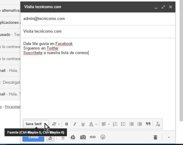Botón Fuente en cómo usar las opciones de formato en Gmail