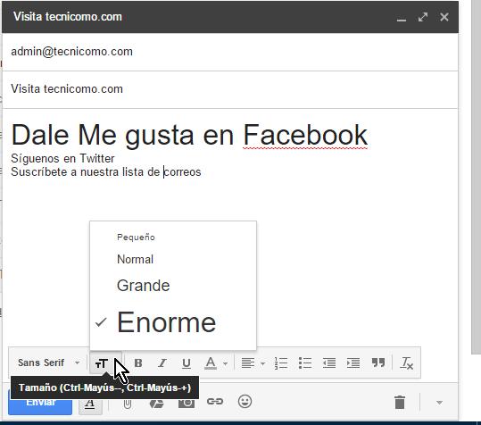 Botón para cambiar el Tamaño de la letra en cómo usar las opciones de formato en Gmail