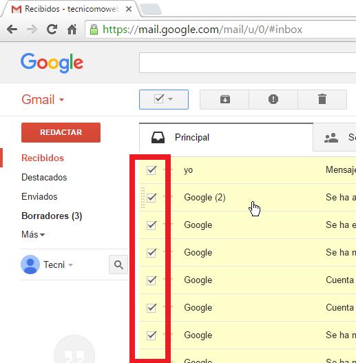 Ejemplo mostrando todos los correos seleccionados en cómo borrar todos los correros de Gmail