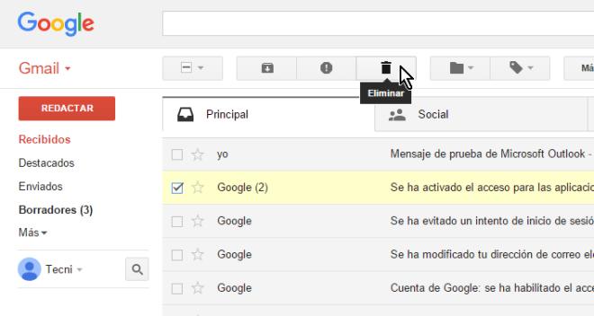Cliquear el botón Eliminar en cómo borrar un mensaje en Gmail