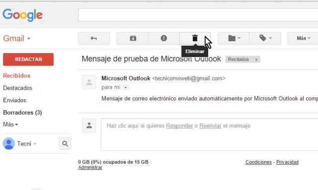 Cliqueando el botón Eliminar desde el mensaje en cómo borrar un mensaje en Gmail