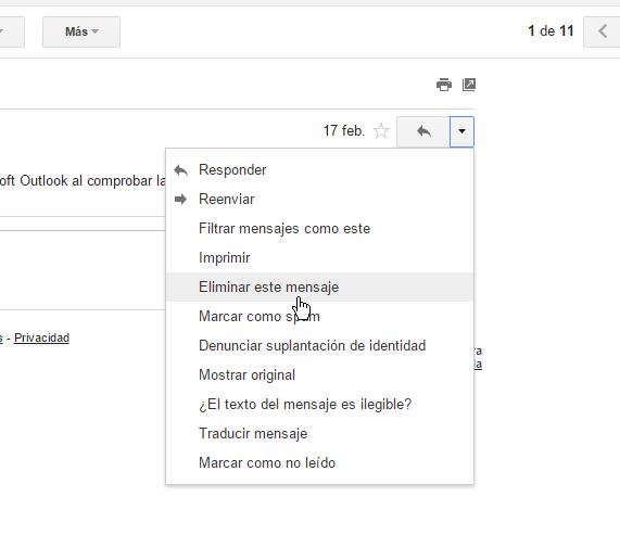 Selecciona del menú la opción Eliminar este mensaje en cómo borrar un mensaje en Gmail