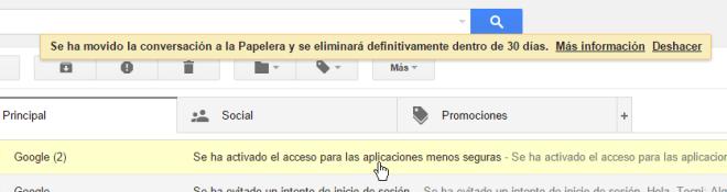 Mensaje de confirmación que el correo fue eliminado cómo borrar un mensaje en Gmail