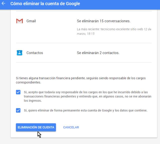Marca las casilla y cliquea el botón Eliminación de cuenta en cómo borrar una cuenta de Google
