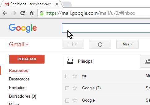 Caja de búsqueda básica en Gmail en cómo buscar correos en Gmail