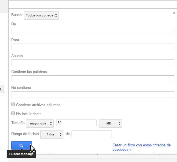 Botón Buscar mensaje en cómo buscar correos en Gmail