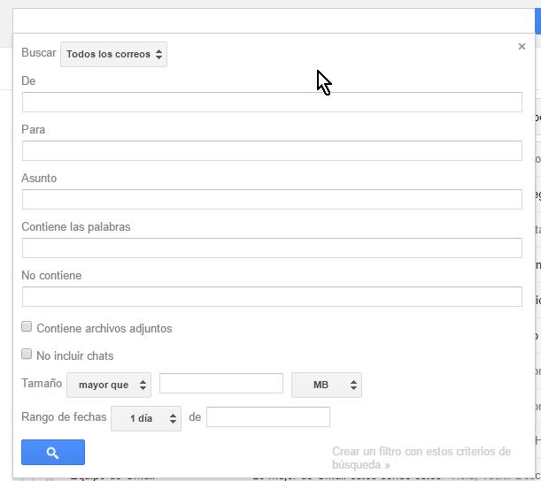 Forma con las opciones avanzadas de búsqueda en cómo buscar correos en Gmail