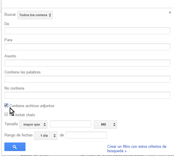 Casilla Contiene archivos adjuntos en cómo buscar correos en Gmail