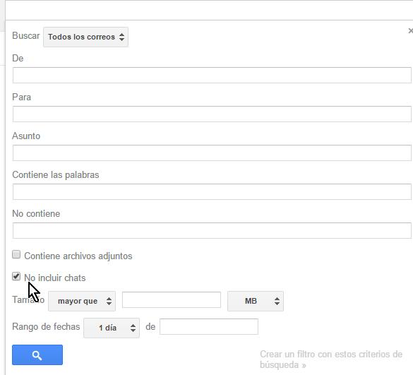 Casilla No incluir chats en cómo buscar correos en Gmail