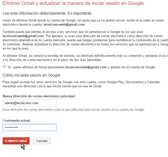 Confirma que quieres borrar tu cuenta de Gmail en cómo eliminar una cuenta de Gmail