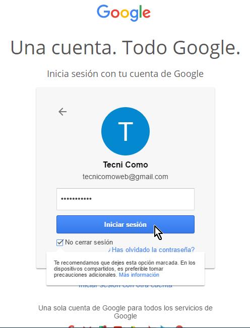 Contraseña entrada en cómo iniciar una sesión en tu cuenta de Google