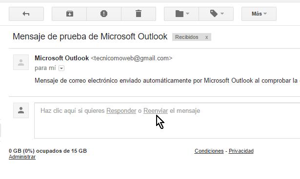 Opción Reenviar en la caja de texto inferior del mensaje en cómo reenviar un correo en Gmail