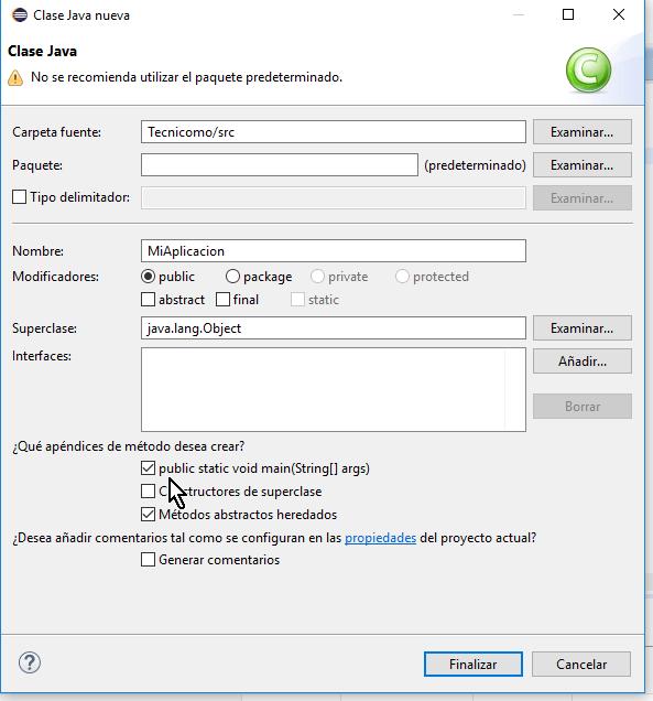 Apéndice para crear método main automáticamente en cómo crear un método main de Java en Eclipse