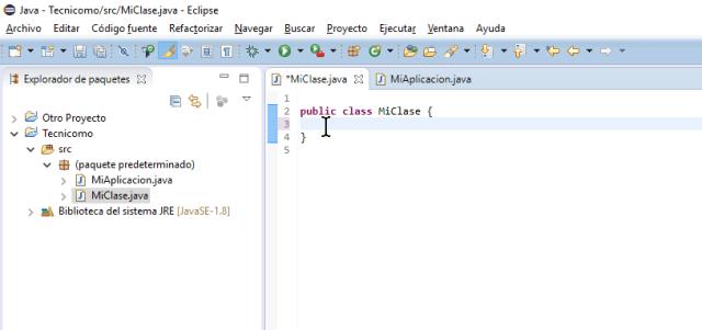 Posiciona el mouse al comienzo de la clase en cómo crear un método main de Java en Eclipse