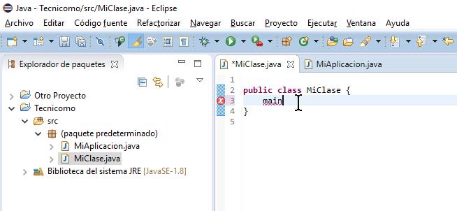 Escribe la palabra main en cómo crear un método main de Java en Eclipse