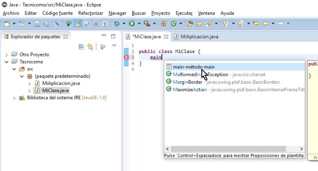 Selecciona main del menú desplegable en cómo crear un método main de Java en Eclipse
