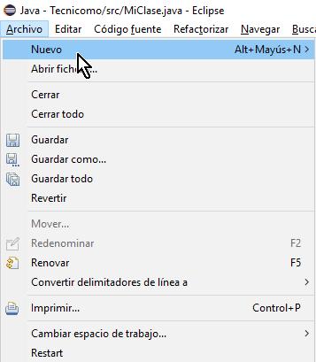 Opción Nuevo en cómo crear un paquete de Java en Eclipse