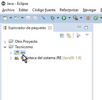 Carpeta srs del proyecto en cómo crear un paquete de Java en Eclipse