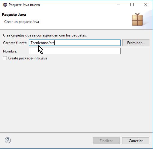 Carpeta fuente en cómo crear un paquete de Java en Eclipse