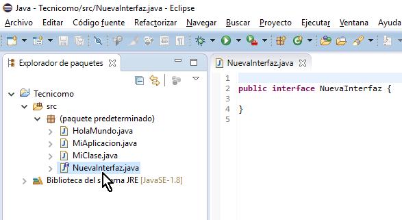 Interfaz nueva ya creada en cómo crear una interfaz de Java en Eclipse