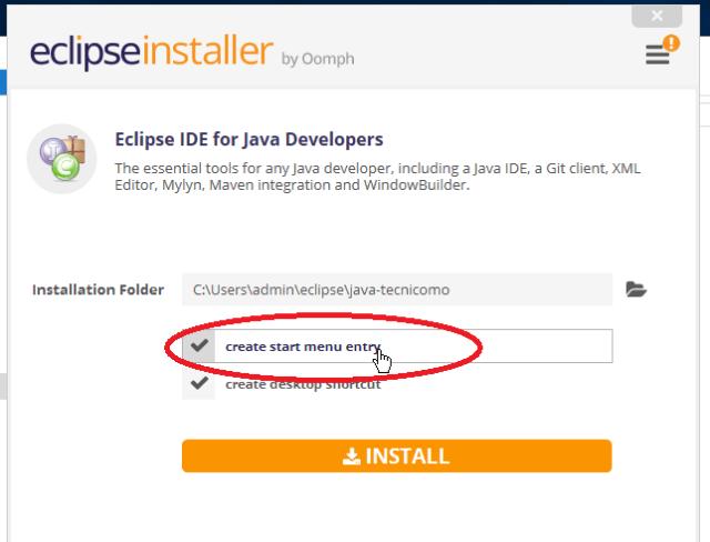 Opción para anclar Eclipse al menú Inicio en cómo descargar e instalar Eclipse IDE