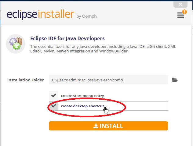 Casilla para crear acceso directo a Eclipse en el Escritorio en cómo descargar e instalar Eclipse IDE