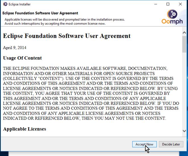 Aceptando la licencia de Eclipse en cómo descargar e instalar Eclipse IDE