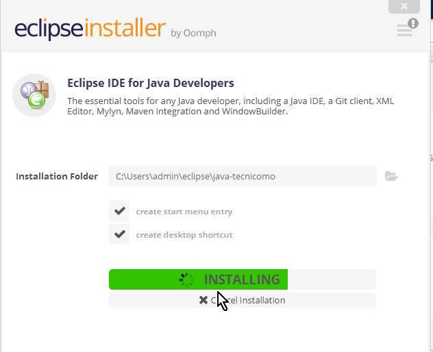 Barra de progreso de la instalación del Eclipse IDE en cómo descargar e instalar Eclipse IDE